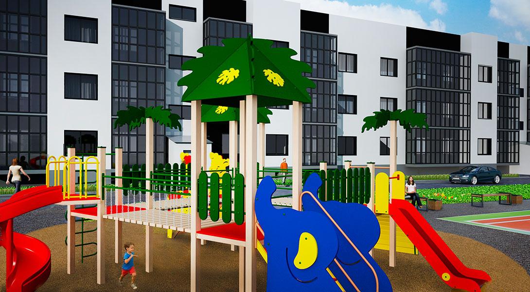 Детская игровая площадка ЖК На Героев в Сиверском, Ленинградской области